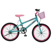 Bicicleta Colli Jully Aro 20 com Freio V-Brake e Cestinha - Verde Acqua/Rosa