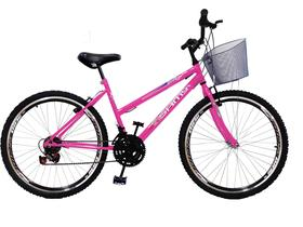 Bicicleta Feminina Aro 24 Rosa Chiclete 18 Marchas Com Cesta