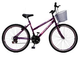 Bicicleta Feminina Aro 24 Violeta 18 Marchas Com Cesta
