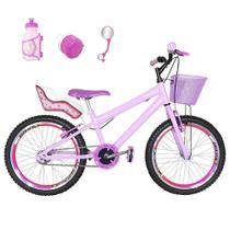 Bicicleta Infantil Aro 20 Rosa Bebê Kit E Roda Aero Pink Com Cadeirinha