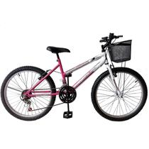 Bicicleta mountain bike aro 24 /feminina - rosa
