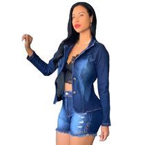 Blazer Jeans Com Licra Feminino Slim