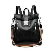 Bloqueio de senha anti-roubo mochila feminina bolsa de computador de viagem de grande capacidade de couro impermeável