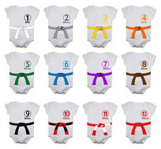 Body Mesversario Jiu Jitsu Faixas Kit com 12 Bodies de Bebê