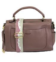 bolsa baú média com alça de mão em couro pu