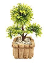 Bonsai Verde Arranjo Flor Artificial Com Vaso Rústico Em Madeira