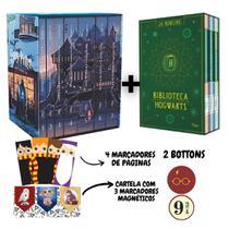 Box Harry Potter + Box Biblioteca Hogwarts (10 livros) - J. K. Rowling - (Acompanha Marcadores + bottons)
