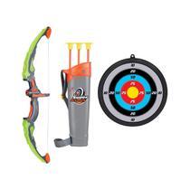 Brinquedo arco e flecha com luz e alvo ventosas coloridas