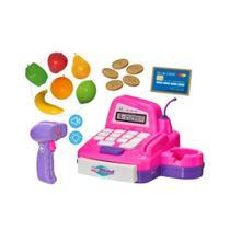 Brinquedo caixa registradora big shop meninas girls rosa com som e acessorios divertidos