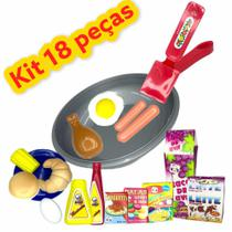 Brinquedo Infantil Kit Cozinha 18 Peças Comidinhas e Frigideira