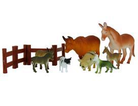Brinquedo Kit 12 Animais em Miniatura Fazenda Leitão Cerca