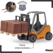 Brinquedo Mini Empilhadeira c/ Acessórios e Pneu de Borracha