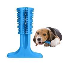 Brinquedo Mordedor Escova De Dente Higienizador Dental Cachorro Anti Stresse Pet 18cm Grande Azul