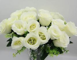 Buquê Rosas Artificial C/24 Flores Arranjo Enfeite Casamento