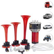 Buzina Eletropneumática 3 Cornetas E Compressor 12v