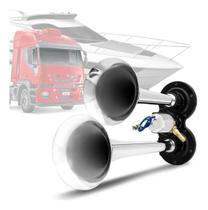 Buzina Eletropneumática Vetor Auto Para Caminhão 2 Cornetas Cromadas 12v Com Solenóide - VT043