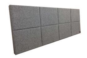 Cabeceira Estofada Queen 8 Blocos Alce Couch Linho Cinza Claro 160cm