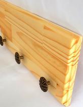 Cabideiro de pinus com ganchos retro redondos