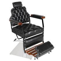 Cadeira de Barbeiro Reclinável Creta Black - Pé Quadrado Inox