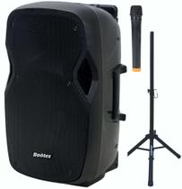 """Caixa de Som Amplificada Boötes BDA-1515-B com Bluetooth, Rádio FM, Bateria Interna, Mic Sem Fio e Tripé - 420W, 15"""""""