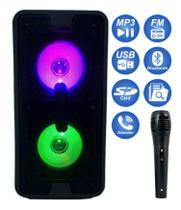 Caixa De Som Portátil Torre Bluetooth Mp3 Rádio Fm Usb Sd Aux Microfone