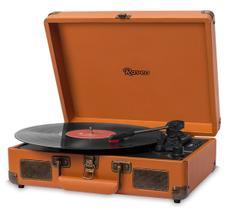 Caixa De Som Vitrola Retrô Hi-Fi Raveo Sonetto Chrome Caramel Caramelo Com Toca-Discos, BT e USB Reproduz E Grava Em Mp3