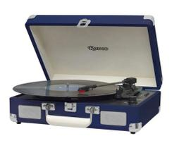 Caixa De Som Vitrola Retrô Hi-Fi Raveo Sonetto Chrome Navy Azul Escuro Com Toca-Discos, BT
