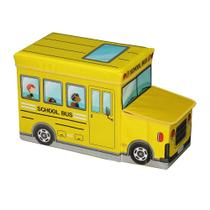 Caixa Puff Organizador de Brinquedos 55X26X31cm Ônibus