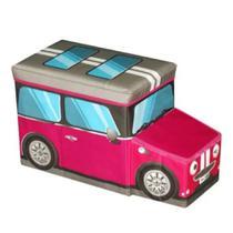 Caixa Puff Organizador de Brinquedos 55X26X31cm Ônibus Rosa