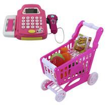 Caixa Registradora de Brinquedo com Som Infantil com Acessórios e Carrinho de Compras