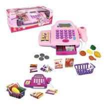 Caixa Registradora Infantil com Acessórios Luz e Som Cor: Rosa