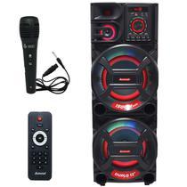 Caixa Som Amplificada Bluetooth 1500W Rms Woofer Mp3 Fm Usb Led Tws Bivolt ACA 1501 NEW X Microfone