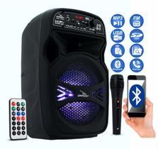 Caixa Som Bluetooth Portátil Amplificada Mp3 Fm Usb Sd Microfone Controle