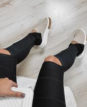 Calça Legging Bandagem Rasgo Joelho Zíper na Barra