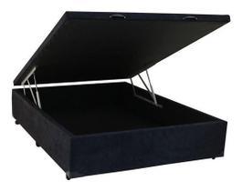 Cama Box Baú Casal LUXO 138 X 188 Com Pistão A Gás SUEDE PRETO