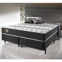 Cama Box Casal Queen Size Soft comfort Preto - Antiácaro, Antifungo e Antialérgico - 158X198X60Cm