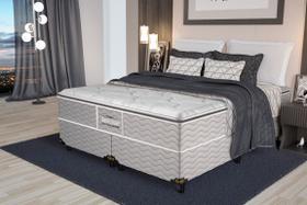 Cama Box Queen Guarda-Costas EPS + Espuma D45 Pillow Top Probel 158x198x68 cm Cinza/Floral