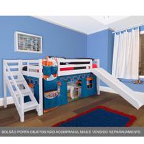 Cama com Escorregador Infantil c/ Escada de Fácil Acesso - Castelo Azul  Casatema