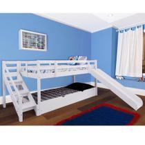 Cama com Escorregador Infantil c/ Escada de Fácil Acesso e Gavetão ou Cama auxiliar - Casatema