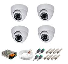Camera Dome Infra Vermelho 24 Leds HD Kit 4 Uni c/ acessórios