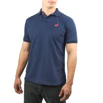 Camisa gola Polo Masculina Vira Lata malha piquet cor Azul marinho Original