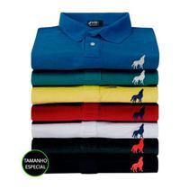 Camisa Polo Masculina em Tecido Piquet Vira Lata Wear Kit 3 Unidades Tamanho Especial