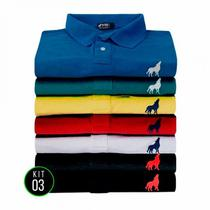 Camisa Polo masculina tecido Piquet Vira Lata wear Kit 3 unidades
