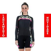 Camisa Roupa Ciclista Bicicleta Ciclismo Bike Elite Proteção Uv Feminina Preto e Amarelo