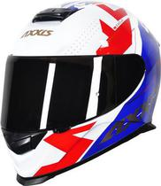 Capacete Axxis Eagle Diagon Gloss - Branco/Azul/Vermelho