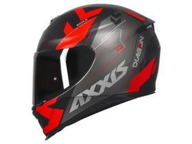Capacete Axxis Eagle Diagon Preto/Vermelho Fosco