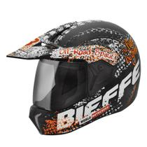 Capacete Bieffe Cross 3 Sport Dirt Preto Chumbo Fosco/Laranja