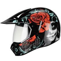Capacete Bieffe Motocross Feminino 3 Sport Senorita Trilha Caveira Mexicana