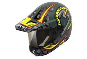Capacete Moto 3 Sport Stones Verde Militar Fosco/amarelo 56