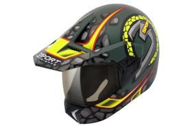 Capacete Moto 3 Sport Stones Verde Militar Fosco/amarelo 58